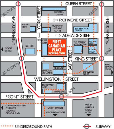 Map to First Canadian Place